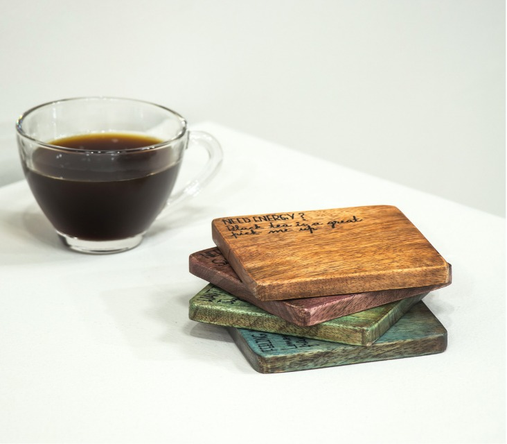 Divit Multi Colored Hand painted Mango Wood Coasters (Set of 4)
