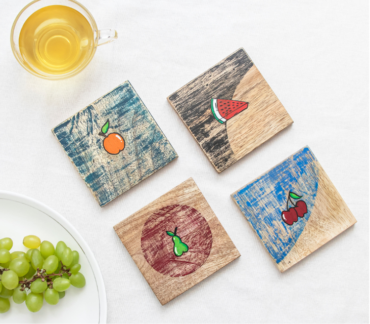 Frais Hand Painted Mango Wood Coaster