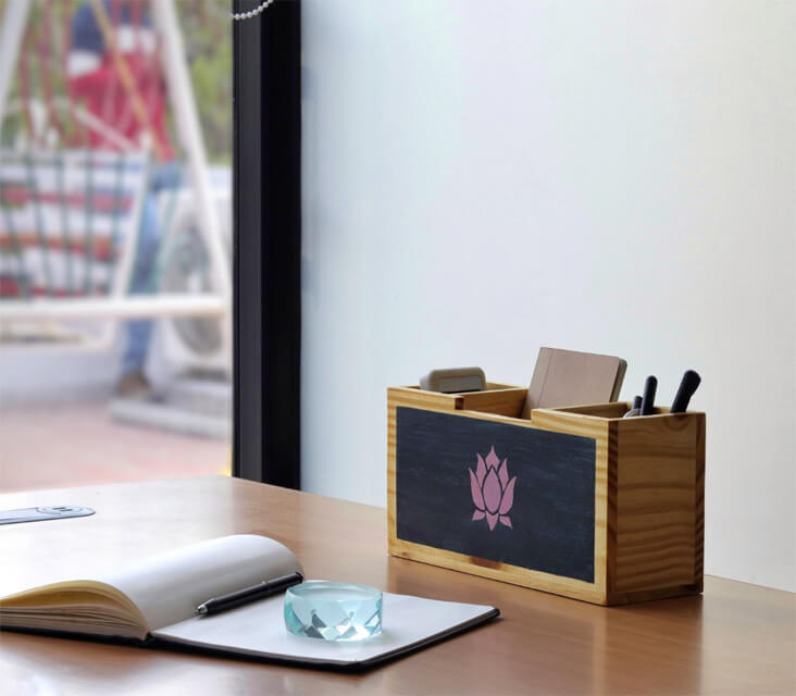 """Blooming Lotus"" Hand Painted Wooden Desk Organizer"