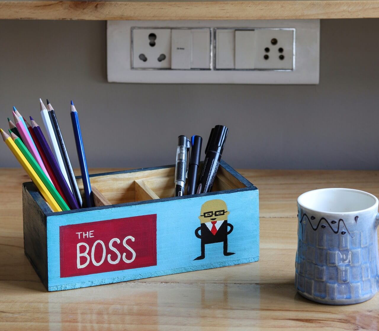 """Boss at Work""  Wooden Desk Organizer"