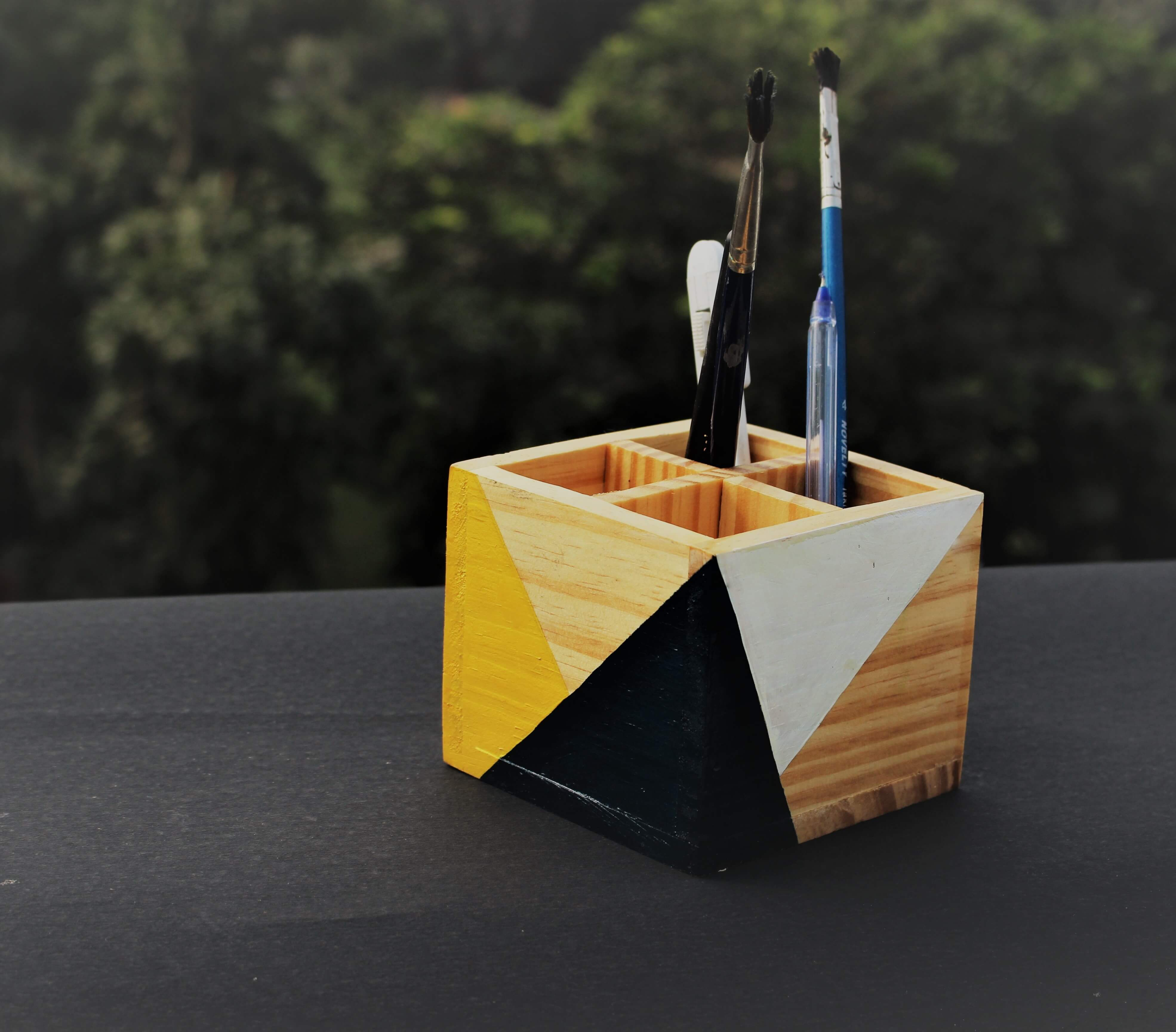 """Tiny Toe"" Hand Painted Wooden Desk Organizer"