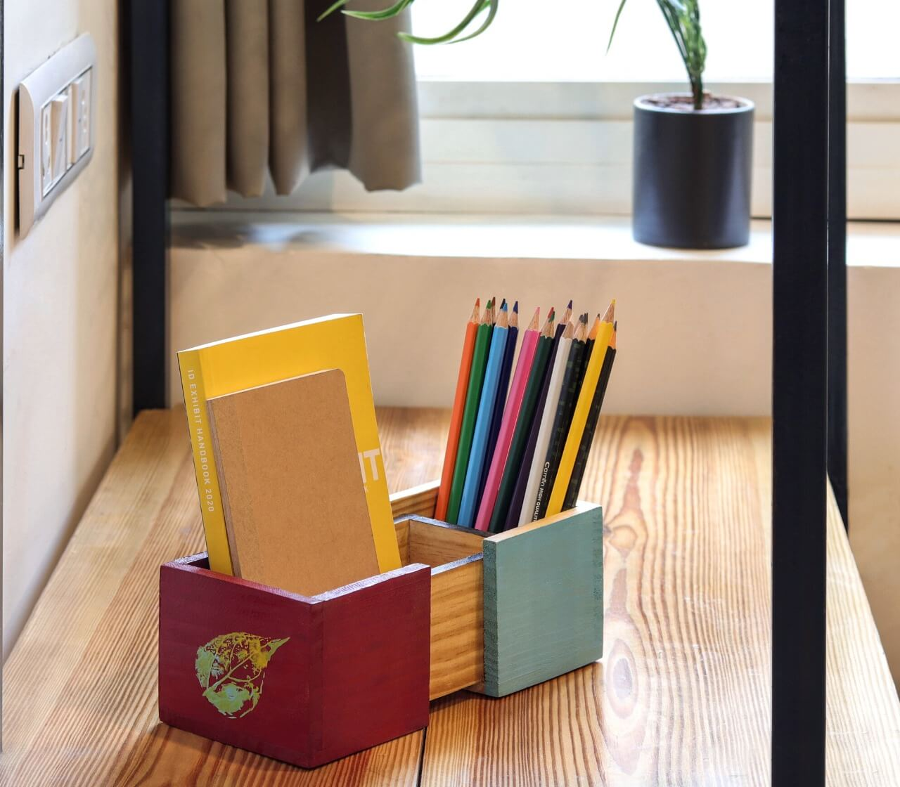 """Autumn"" Hand Painted Wooden Desk Organizer"
