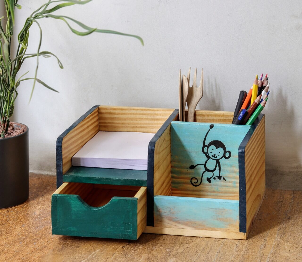 """Monkey & Banana"" Hand Painted Wooden Desk Organizer"