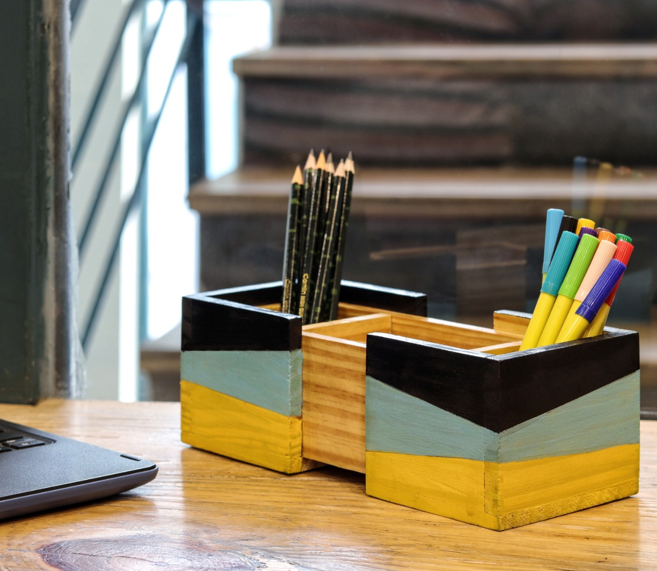 """Vintage"" Hand Painted Wooden Desk Organizer"