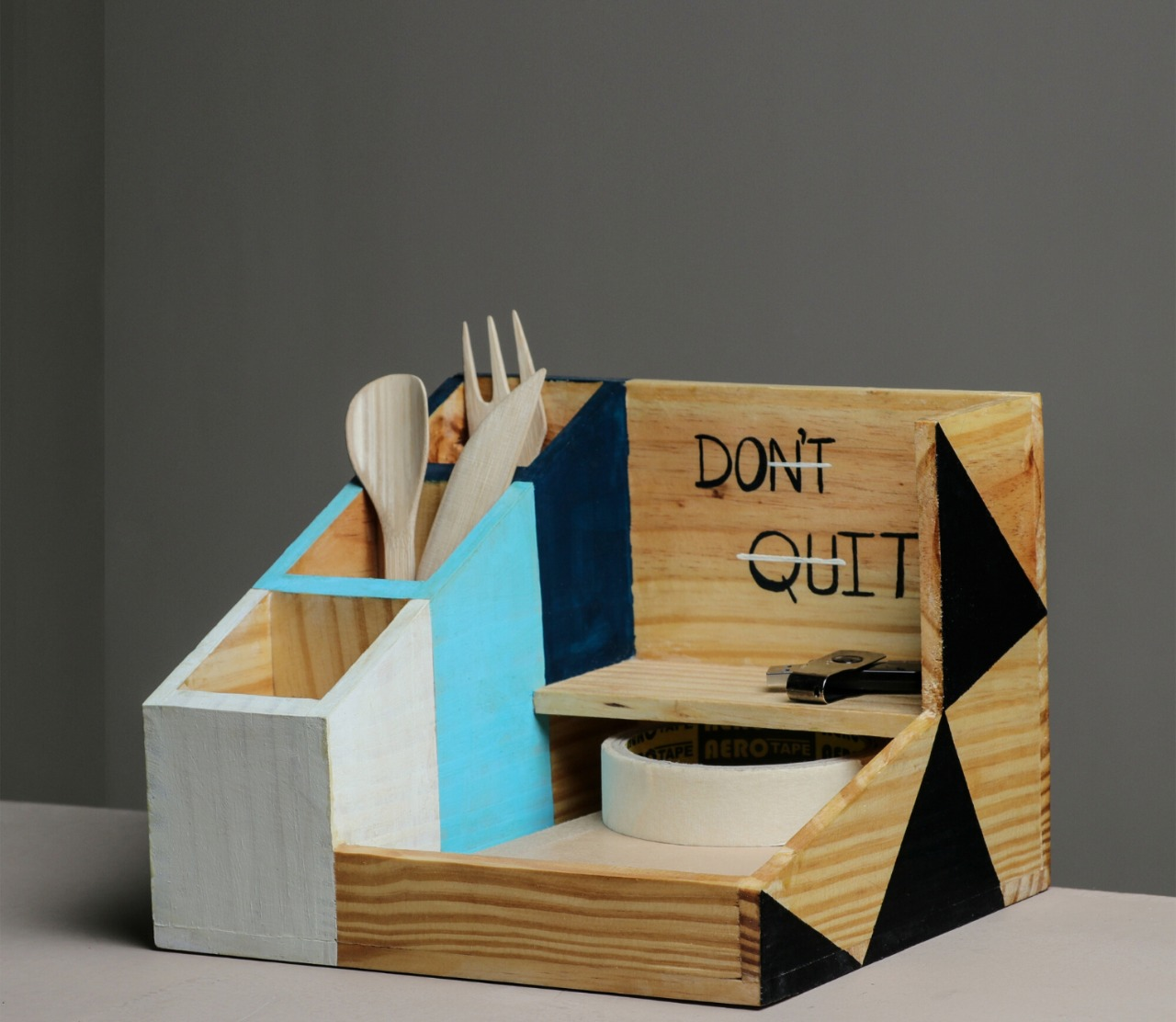 """Colossal"" Hand Painted Wooden Desk Organizer"