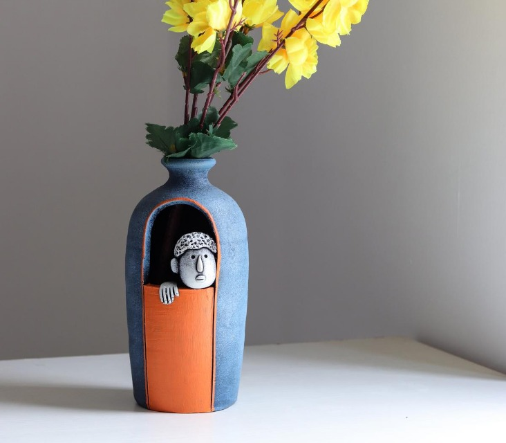 Window Man Handmade Clay Vase